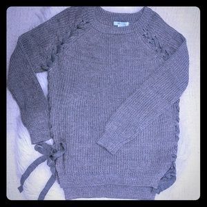 She+Sky high low side tie sweater
